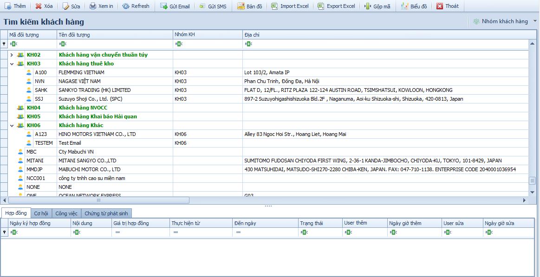 Màn hình WINTA CRM - Tìm kiếm khách hàng