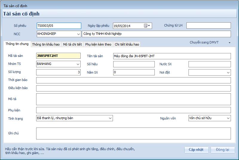 Phần mềm kế toán - Tài sản cố định