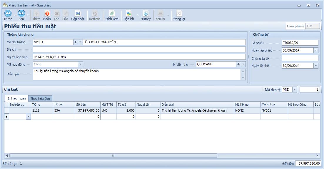 Phần mềm kế toán Winta - Phiếu thu tiền mặt