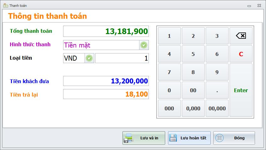 Phần mềm bán hàng. Quản lý in hóa đơn, thanh toán