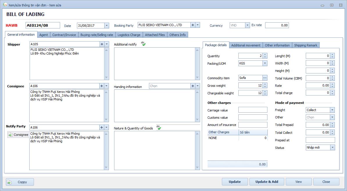 Phần mềm Freight Forwarder - Vận đơn hàng không Airway bill (AWB)