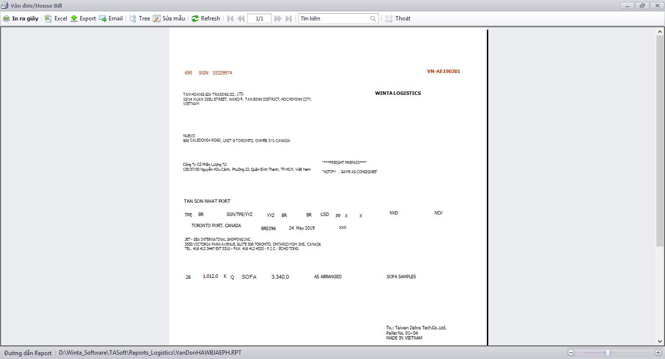Phần mềm Freight Forwarder - Phát hành vận đơn hàng không đặt in Airway bill (AWB)