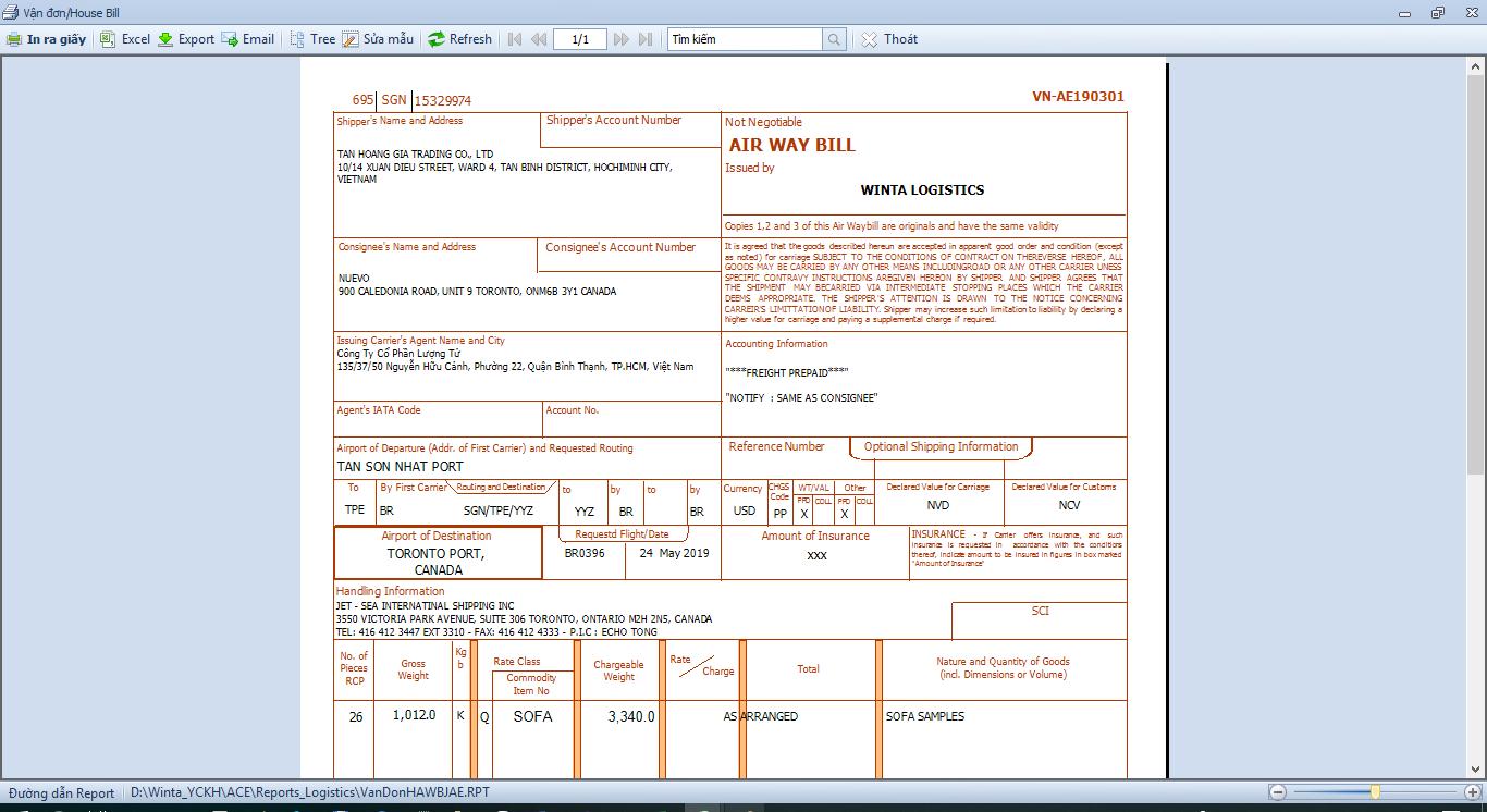 Winta Logistics - Giải pháp phần mềm freight forwarding - Phát hành vận đơn AirLine
