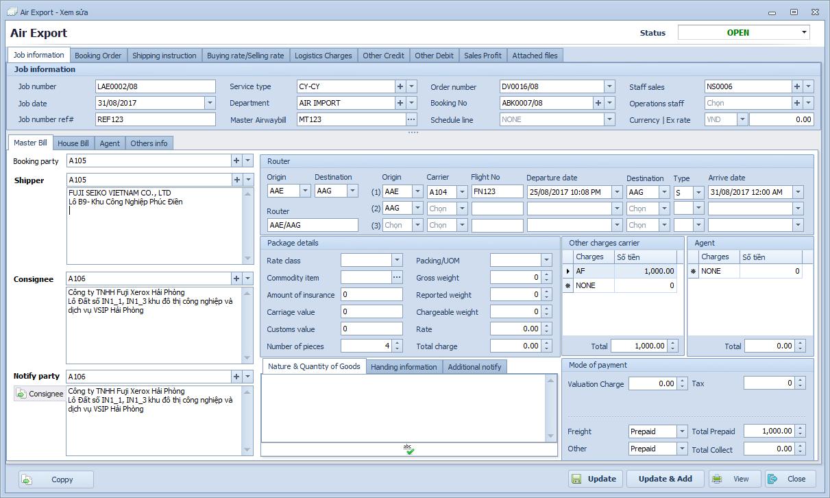 Phần mềm Freight Forwarder - Phát hành vận đơn hàng không Airway bill (AWB)