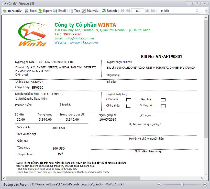 Phần mềm Freight Forwarder -Vận đơn Express