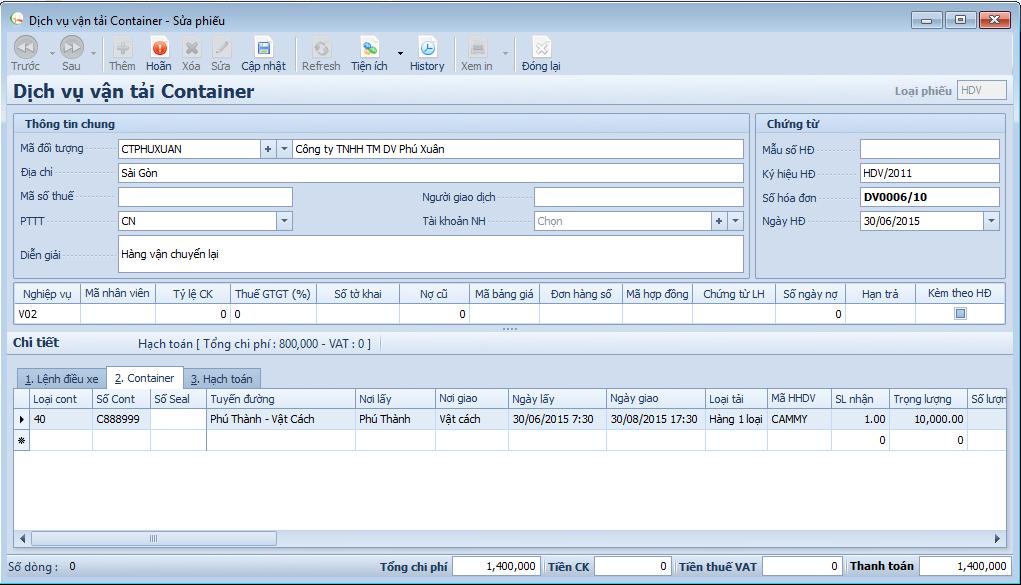 Phần mềm quản lý vận tải - Chứng từ vận tải Container