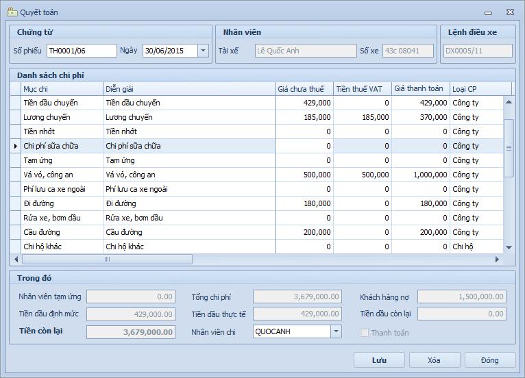 Quyết toán chi phí vận tải