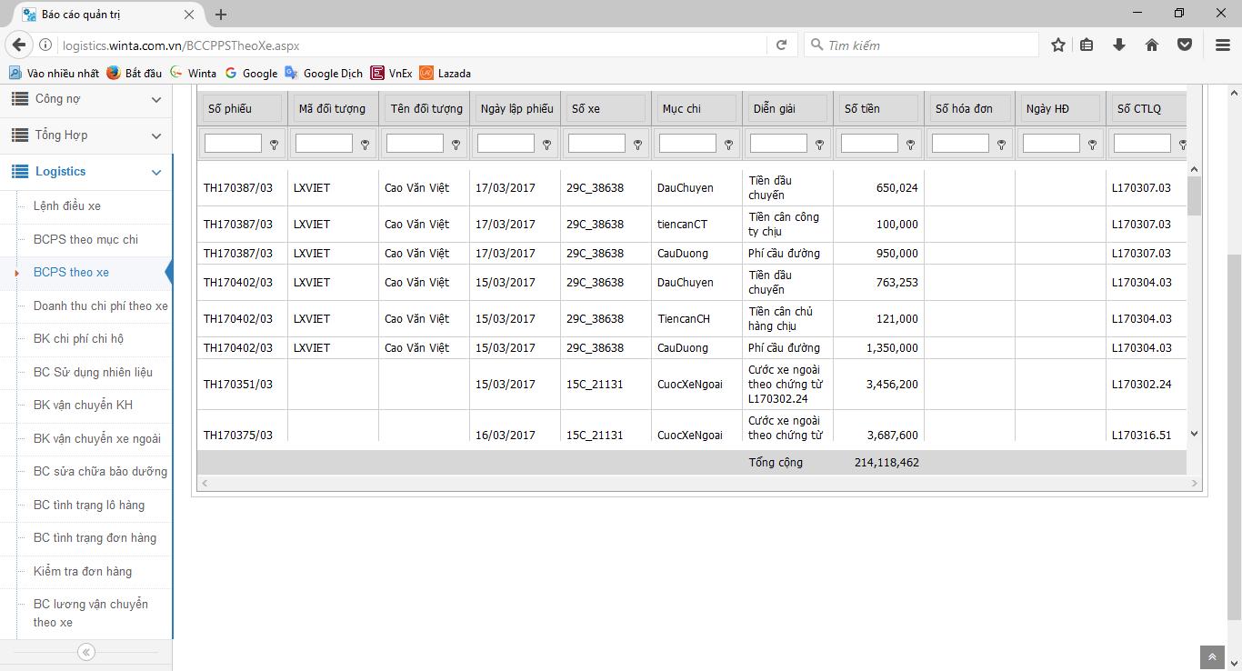 Phần mềm quản lý vận tải - Báo cáo chi phí theo xe