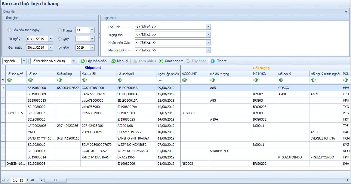 Phần mềm Winta Logistics - Báo cáo tình hình thực hiện lô hàng