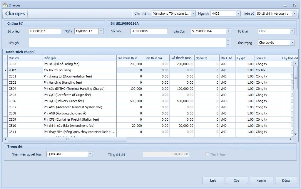 Phần mềm khai hải quan - Quyết toán chi phí