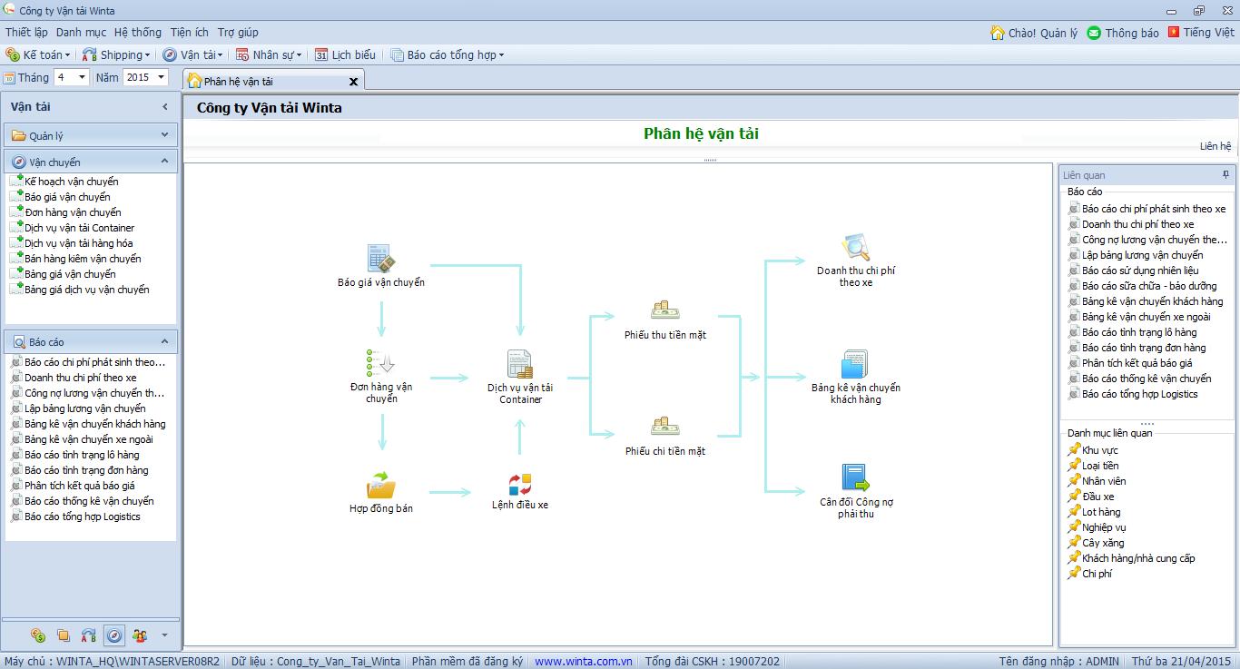 Phần mềm vận tải Container - Giao diện chính