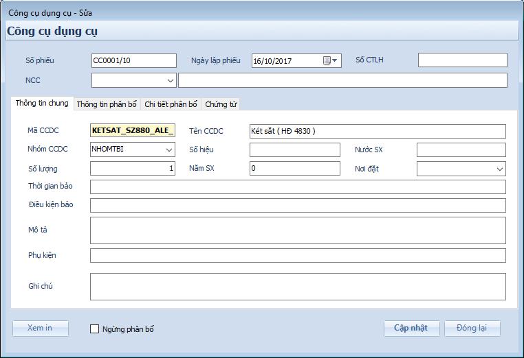 Phân hệ kế toán công cụ dụng cụ