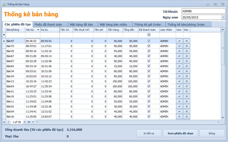 Phần mềm bán hàng - Thống kê bán hàng