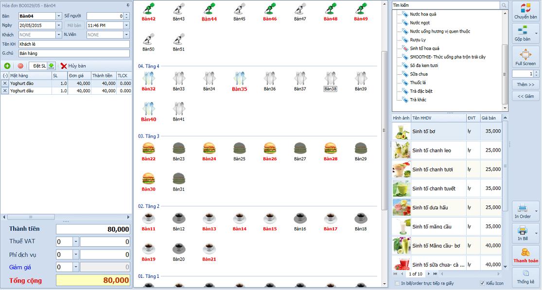 Phần mềm quản lý tính tiền nhà hàng, quán cafe, karaoke