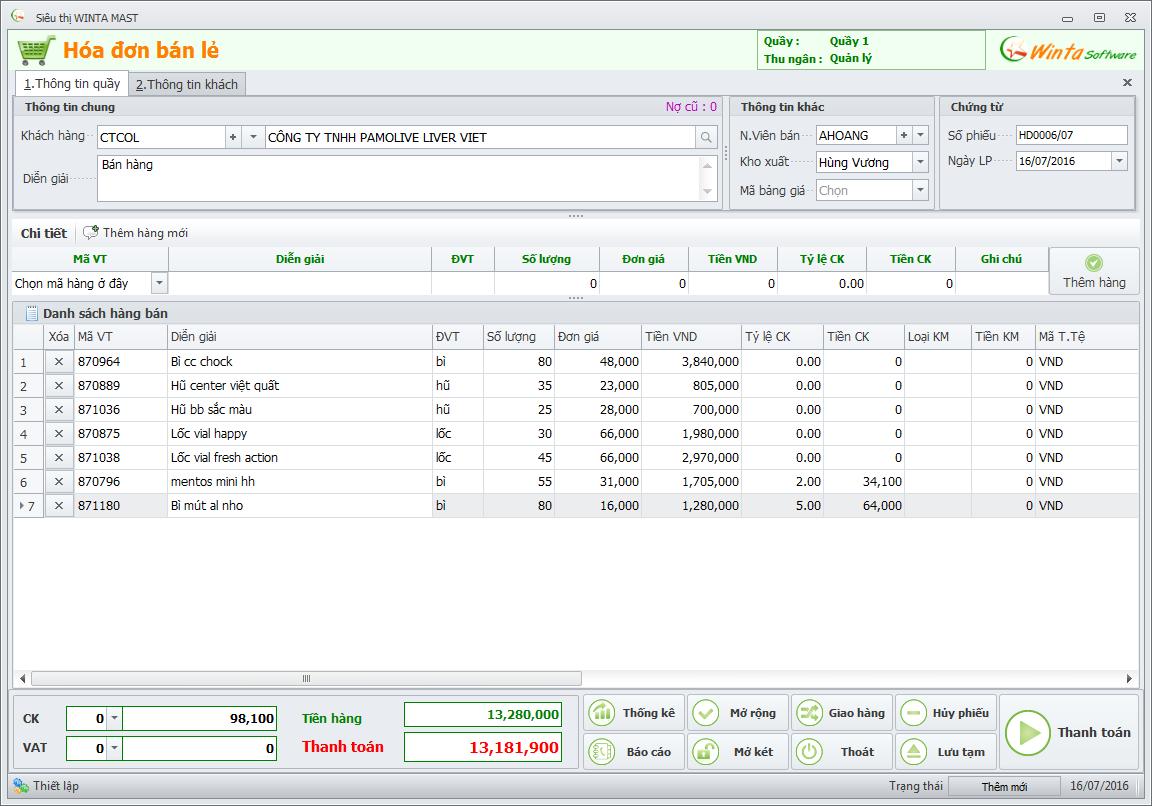 Phần mềm bán hàng - Hóa đơn bán hàng